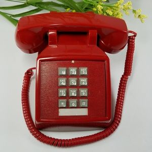 Retro Red Push Button Desk Phone Vintage Style